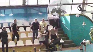 Street Fight at Pool In Russia